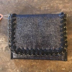 Handbags - NWT small faux suede wallet with chain design!